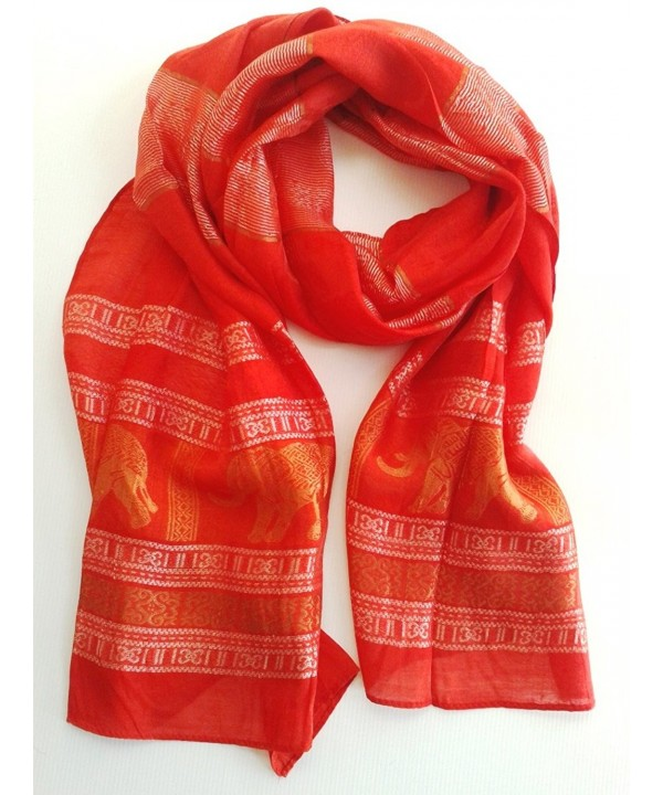 RED - Thai Silk - Elephant Scarf - 20 x 72 Inch - C411R1B5SOV