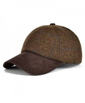 VOBOOM Men's Wool Herringbone Baseball Cap Check Woolen Adjustable Suede Peak - Brown - CI184TZW3QX
