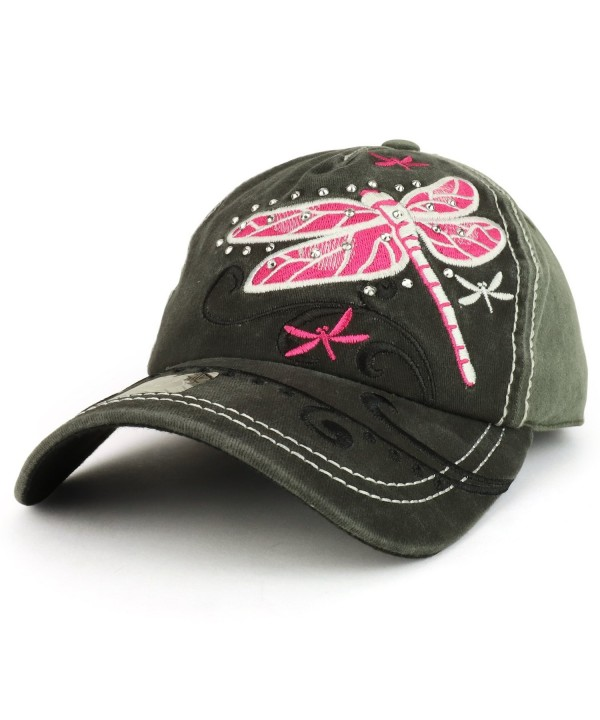 Trendy Apparel Shop Dragonfly Embroidered Stitch Multi Color Baseball Cap - Grey Charcoal - CX1898LKWRH