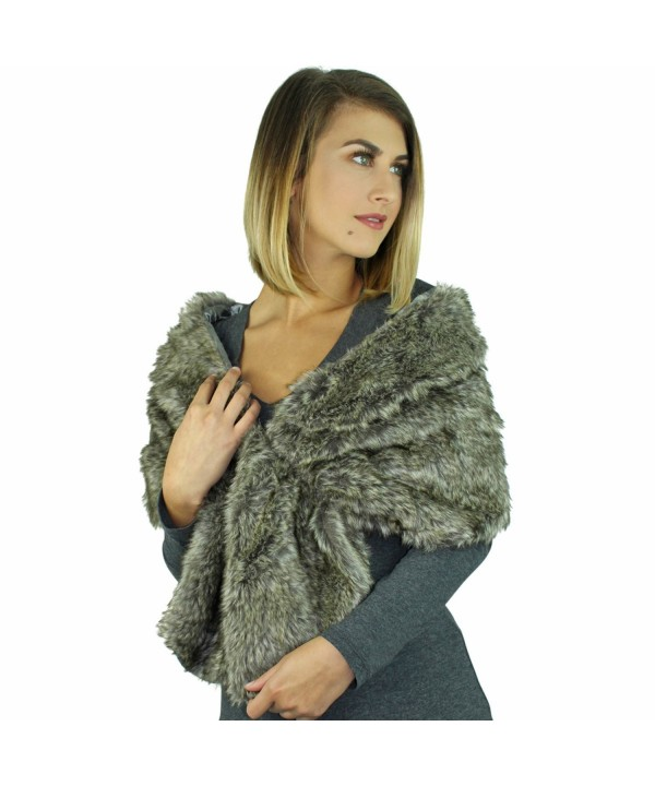 Faux Fur Plush Shawl Wrap With Satin Lining - Gray - CO127O5APZJ