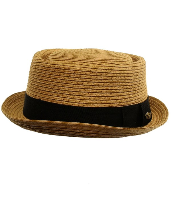 Men's Cool Summer Straw Pork Pie Derby Fedora Upturn Brim Hat - Toast - CV11LIZ2ZC9