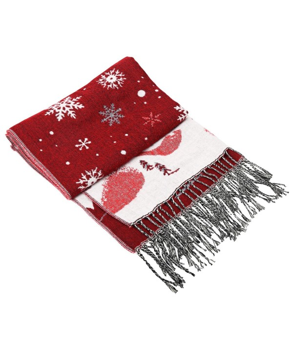 Dance Fairy Winter Long Scarf Warm Wrap Soft Thickened Shawl with Tassels - Purplish Red - CE1899M72AY