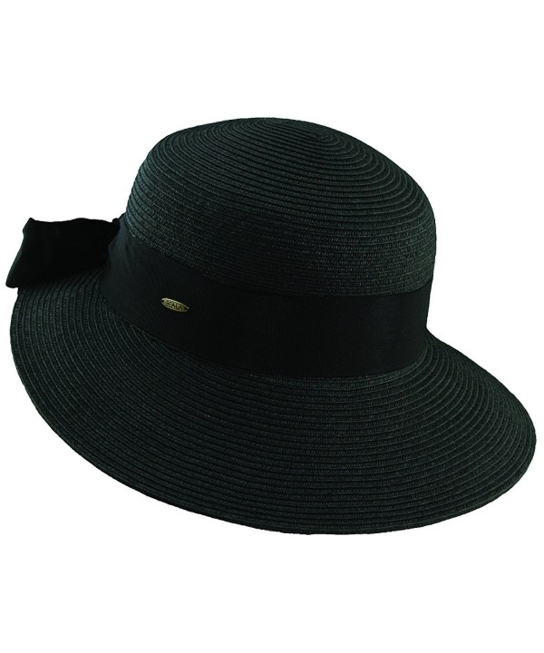 Scala Paper Braid Big Brim Sun Summer Hat - Black - C311JROR7N5