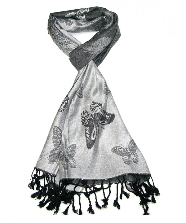 Lovarzi Women's Butterfly Scarf - Butterfly pashmina scarf for ladies - Silver & Black - CY11GRV9H11