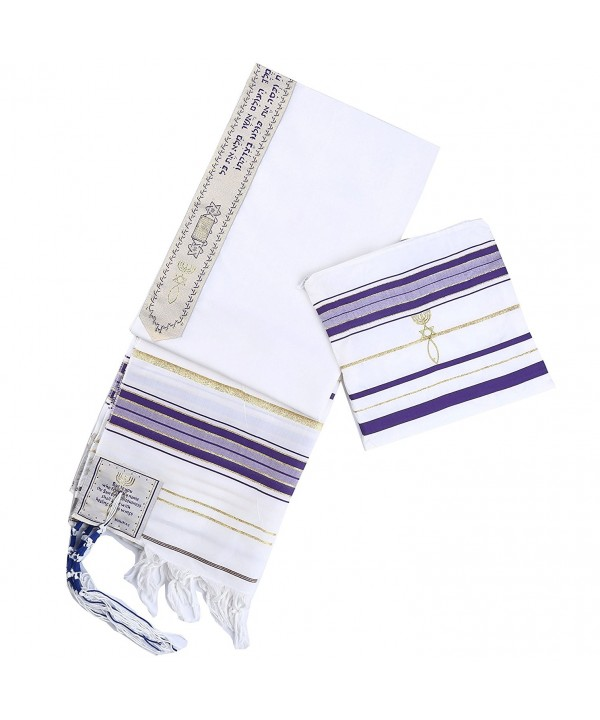 New Convenant Messianic Tallit Prayer Shawl with Matching bag by Star Gifts - Purple - CX186EDEN6O