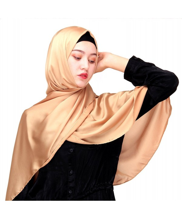 Uphily Silk Satin Muslim Hijab Scarf For Hijab Cap Long Shawl Scarf Head Covering - Light Bronze - C2184XX53O9