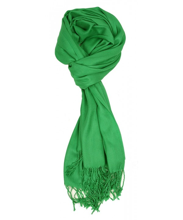 Love Lakeside-Large- Soft- Silky Pashmina Shawl- Wrap- Scarf in Solid Colors - Kelly Green - C01883ZL4SU