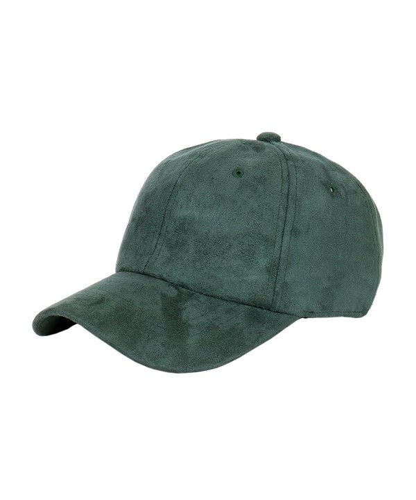 1611MAIN Suede Low Profile Plain Adjustable Strapback Baseball Dad Cap (Dark Green) - C912N1KI44P