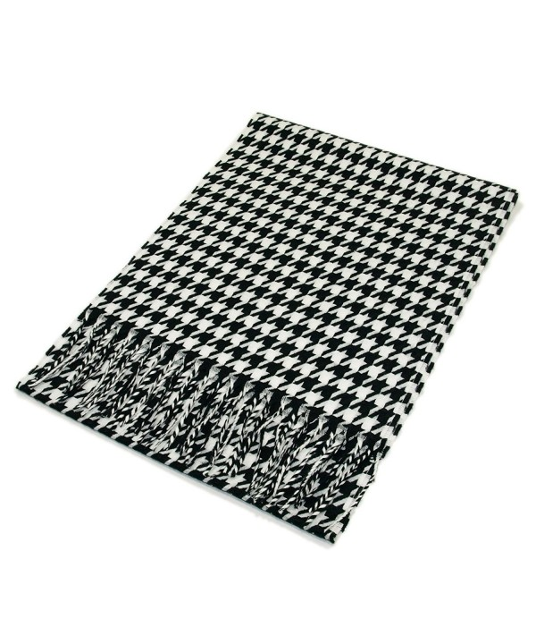 Classic Premium Unisex Houndstooth Winter Fringe Scarf - Different Colors Available - Black/White - CO115KISEXT