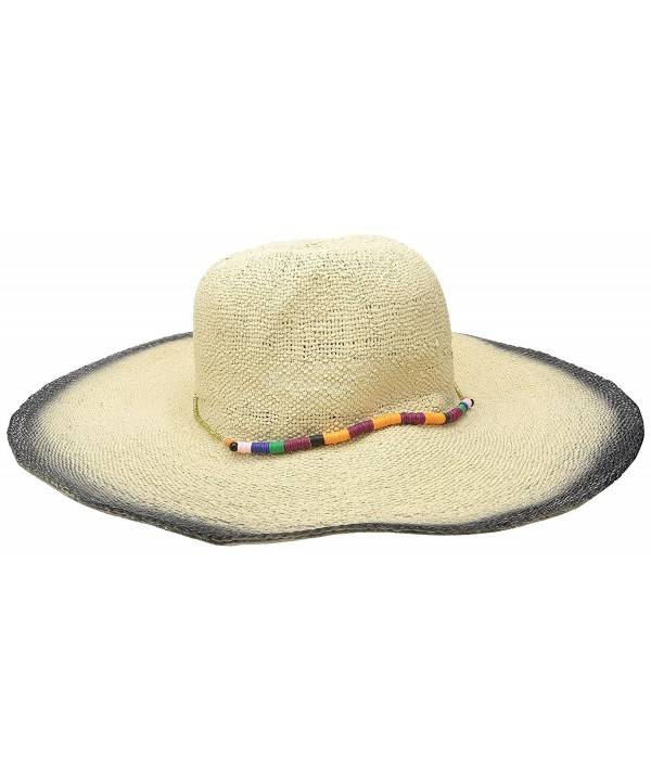 San Diego Hat Company Women's Fine Weave Round Crown Sun Hat With Dyed Edges - Natural/Black - C3126AOQ5LX