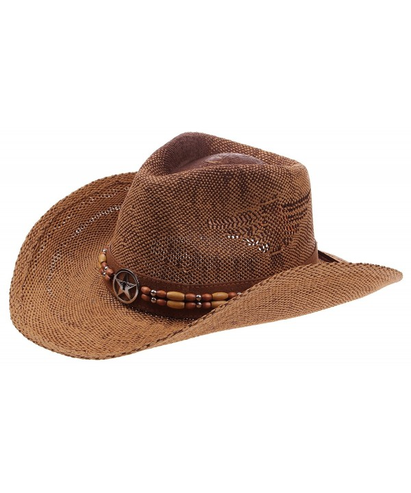 Enimay Western Outback Cowboy Hat Men's Women's Style Straw Felt Canvas - Star Brown - CM182AN0QKN