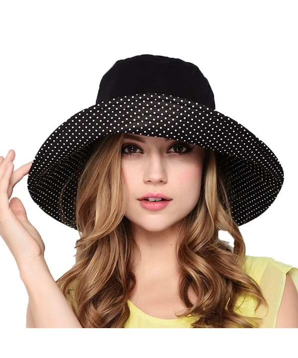 Maitose Women's Wide Brim Foldable Sun Hat - Black - CV11AZ6GDC9