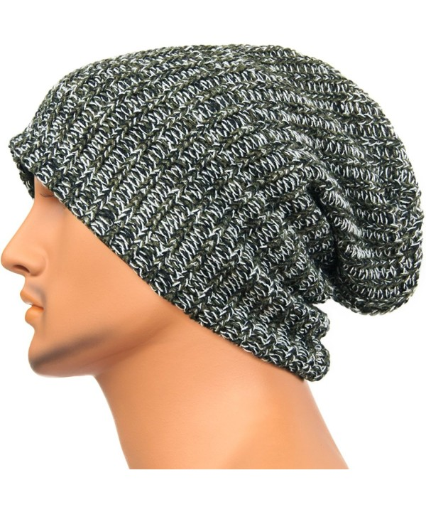 REDSHARKS Unisex Baggy Beanie Slouchy Knit Caps Skull Hats Ribbed Design ZRX1008 - Green - CT128JXFVPZ