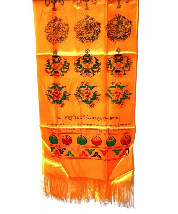 Tibetan Golden Prayer Scarf Katas with 8 Symbol (8 Auspicious Signs) - CE11HTT3JUF