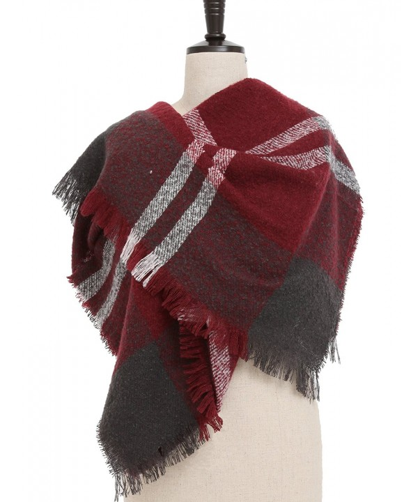 VESTIR Women's Plaid Blanket Scarf Winter Warm Cozy Tartan Soft Shawl Wrap Oversized - Wine Red - CX186XUS3TE