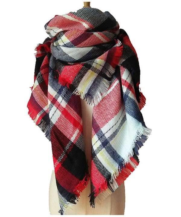 Wander Agio Womens Warm Scarf Square Shawls Large Mens Scarves Stripe Plaid Scarf - White Red Colour - CF185GY54YL