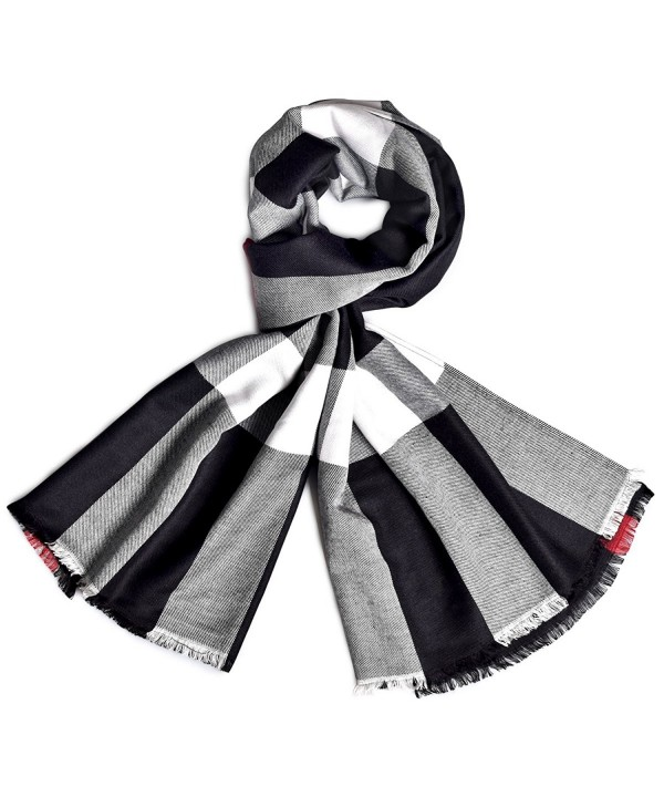 Women's Fashion Cotton Plaid Scarf Soft Silky Shawls and Wraps Lightweight Tatan Scarf For Spring - Black - CO186AKAX9O