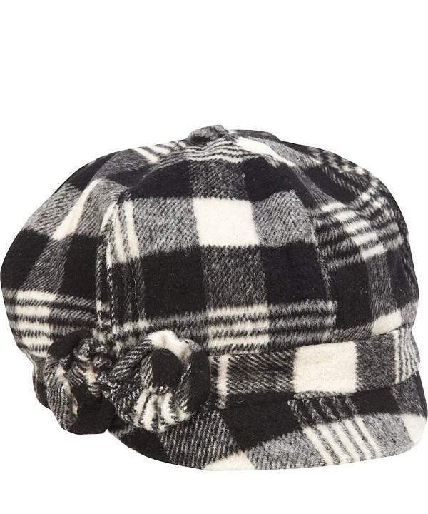 MAGID Women's Plaid Jockey Cap - Black - C611H00PPAJ