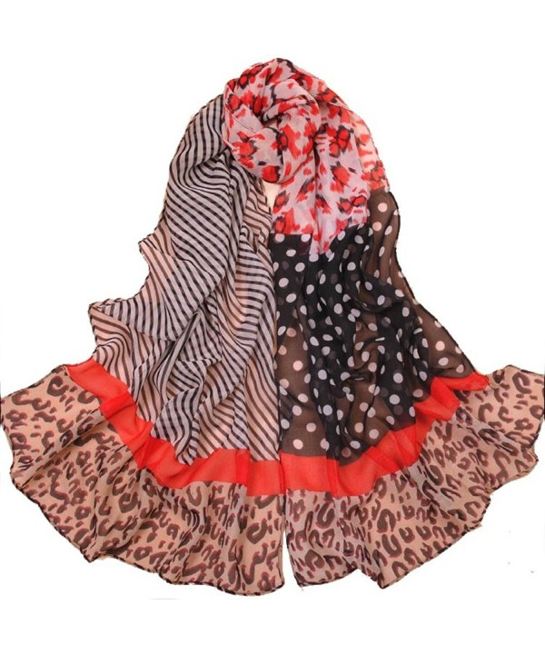 Leopard Cheetah Animal Print Stripe Polka Dot Scarf Shawl - C811TL81ZXF