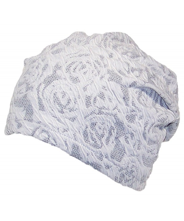 David & Young Womens Floral Design Lightweight Loose Knit Beanie (One Size) - White - CH12MYW4S0B