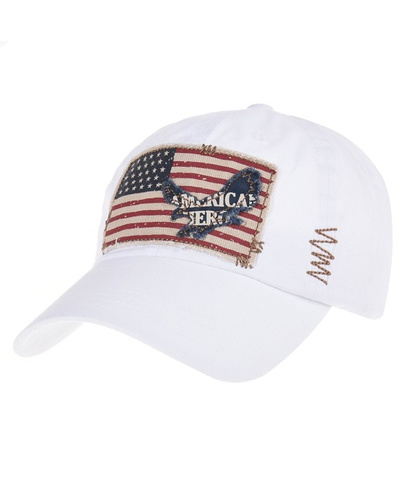 WITHMOONS Baseball Cap Vintage American Flag Patch Distressed CR1055 - White - CU12IGSHALZ