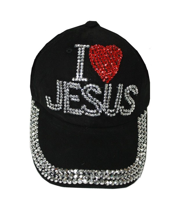 I Love Jesus Girl Ladies Denim Jean Campagne Adjustable Baseball Cap Hat - Black - CX12HLGT8TB