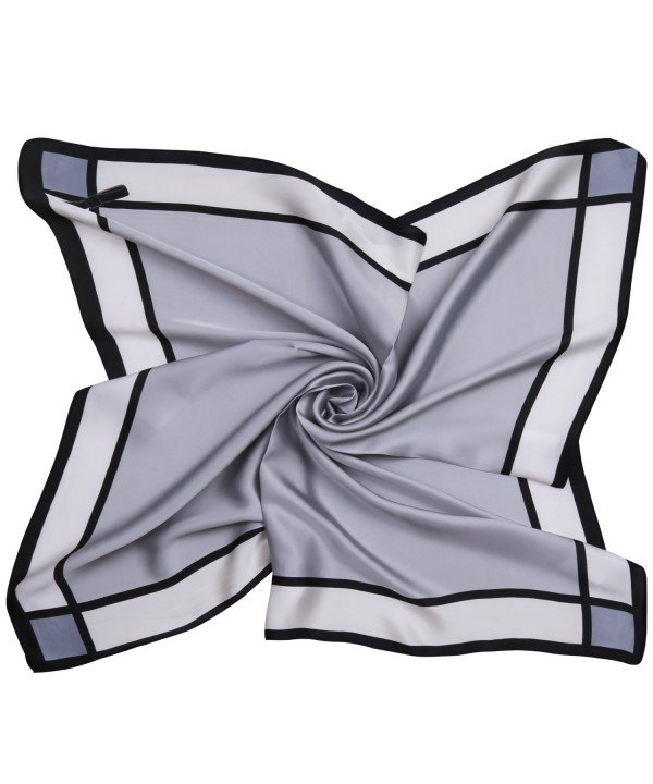 SOJOS Silk Scarf Women's Large Square Satin Neck Scarf Hairscarf 27.5 x 27.5 inches SC303 - A2 Grey Bowknot - CN186RCHW26