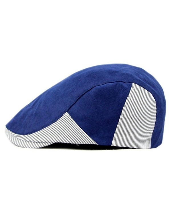 ZLS Unisex Newsboy Ivy Irish Patchwork Striped Cotton Cabbie Hat Cap - Blue - CR12OCO535A