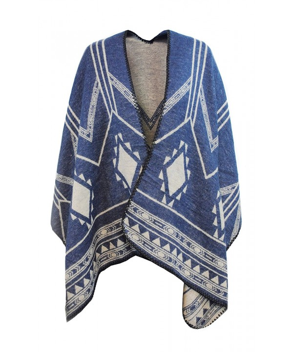 Day Wrap Knitted Poncho & Winter Scarf in 1 for Women w/ Overlocked Seams - Blue/Beige - CG189D9LWTG