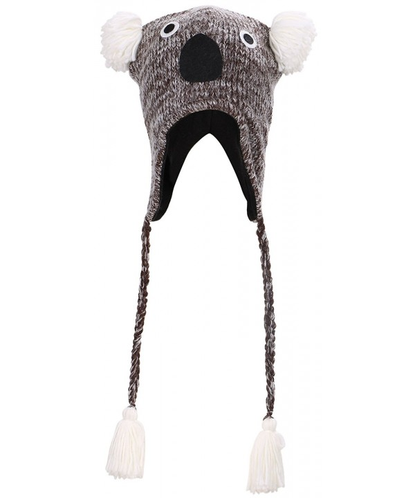 Simplicity Knit Animal Winter Fleece Ski Beanie with Ear Flaps - Koala - CV11OJDNM6F