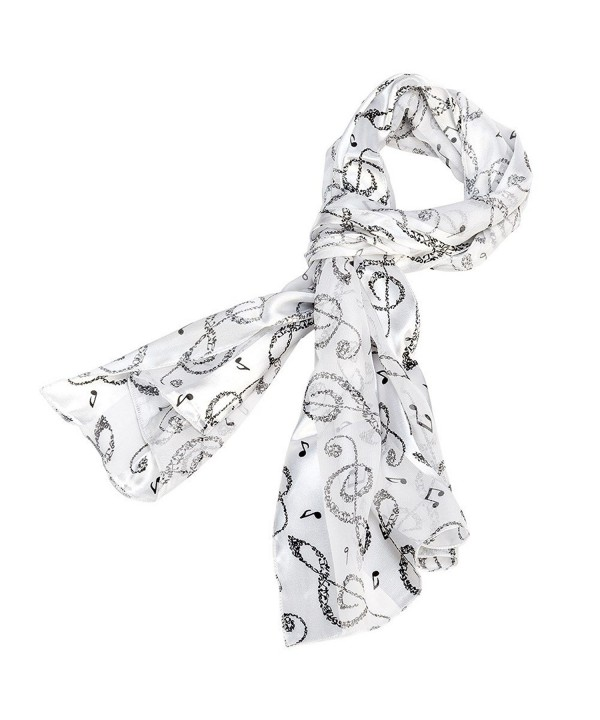 Music Note Scarf - Black and White - C811M2G6UBP