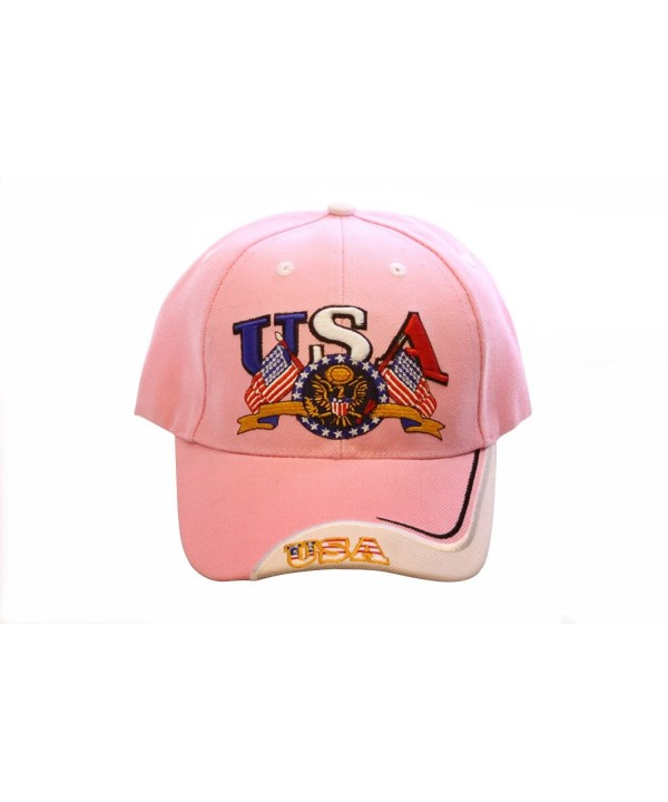 LL Pink USA Flag Eagle Patriotic Embroidered Baseball Cap Hat Adjustable Velcro - Pink - C212F5E924R