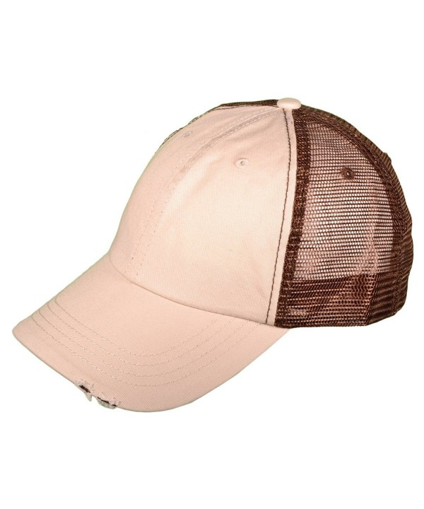 Buck Caps Unisex Unstructured Special Washed Distressed Mesh Trucker Cap - Putty/Brown-6887 - CD12FL8D8AP