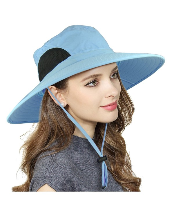 Womens Waterproof Sun Hat- UV Protection Wide Brim Bucket Mesh Boonie Hat Adjustable Fishing Cap - Blue - CC189ZU87NW