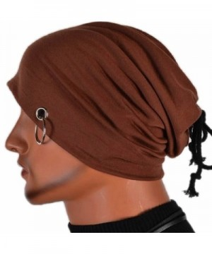 Chunshop Multifunction Men Ring Lacing Beanie Unisex Baggy Light Hip-Hop Skull Cap Unisex - Brown - CU122XTEW5L