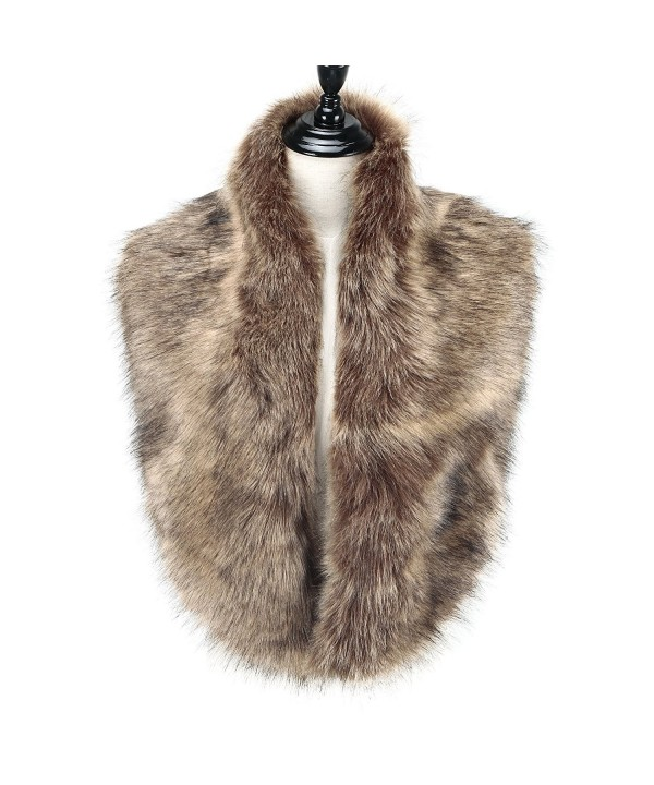 Caracilia Extra Large Men Women's Faux Fur Collar Scarf for Winter Coat - Fox - C71867YIEEI