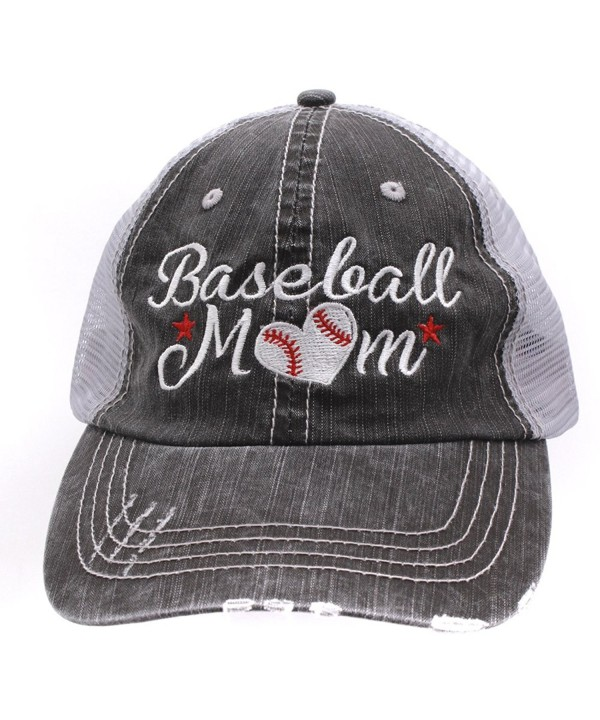 Baseball Momlife Mom Love Heart Women Embroidered Trucker Style Cap Hat - CQ184NIAEYO