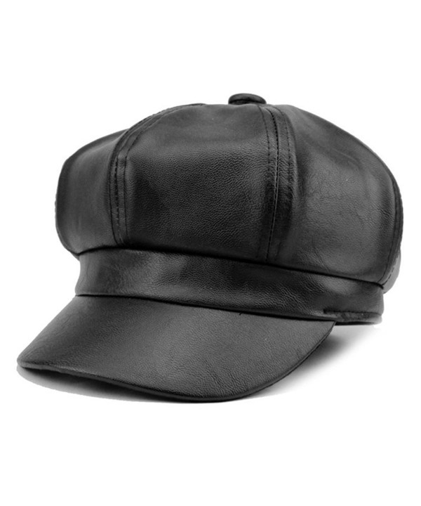 WETOO Women's Leather newsboy Hats Cap Vintage Wide Brim IVY Beret Cap - Black - C6186ZDE6X9