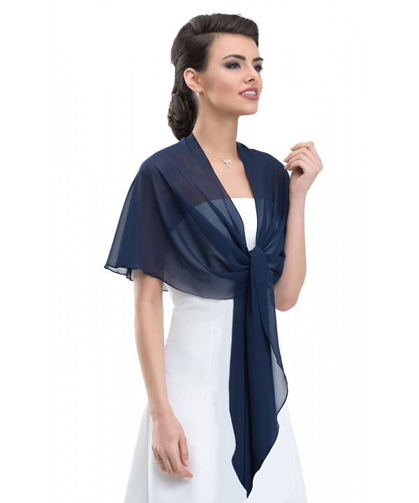 Chiffon Bridal Evening CIRCULAR Stole Shawl Wrap - Perfect for Bridal Wedding Evening Prom Ball - Navy - CM1204EGLCT
