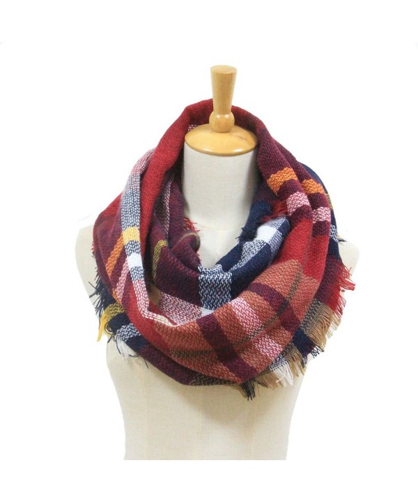 Winter Women Plaid Infinity Scarf -Fashion Tassel Soft Circle Loop Scarves for Women - Wine - CP188NDIEE4