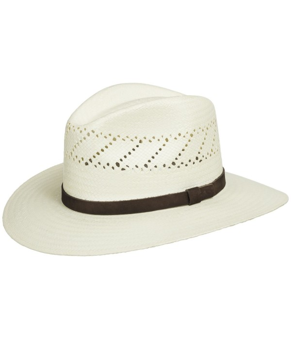 HAVANA Fedora Vented Panama Outback Straw Hat Ultrafino - Natural - C1114VVAW2L