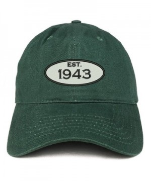Trendy Apparel Shop Established 1943 Embroidered 75th Birthday Gift Soft Crown Cotton Cap - Hunter - C6180L0499U