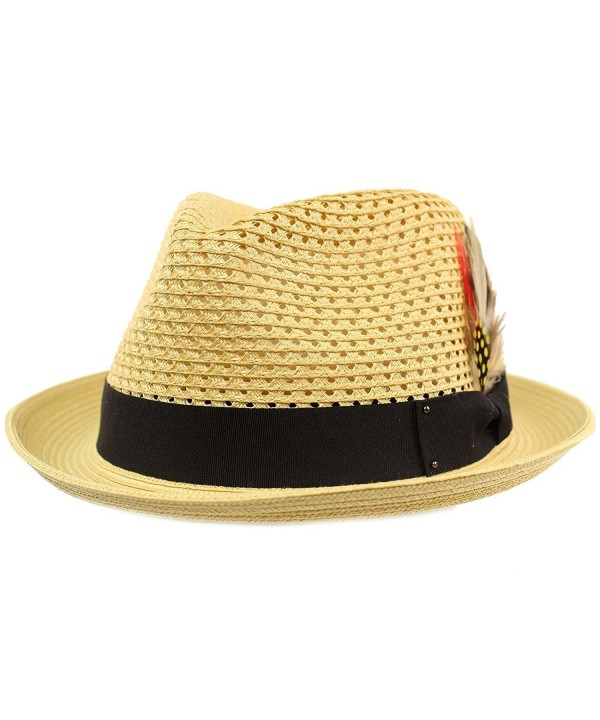 Men's Light Vented Removable Feather Derby Fedora Curled Brim Hat - Natural - C517YORDI2X