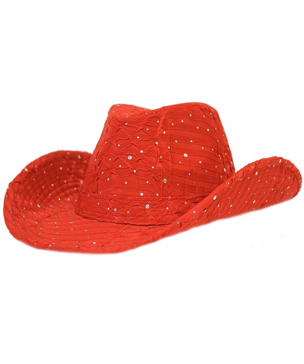 Great Deals! Red Sparkle Western Hat Red Hat Ladies - C2112RT3DA7