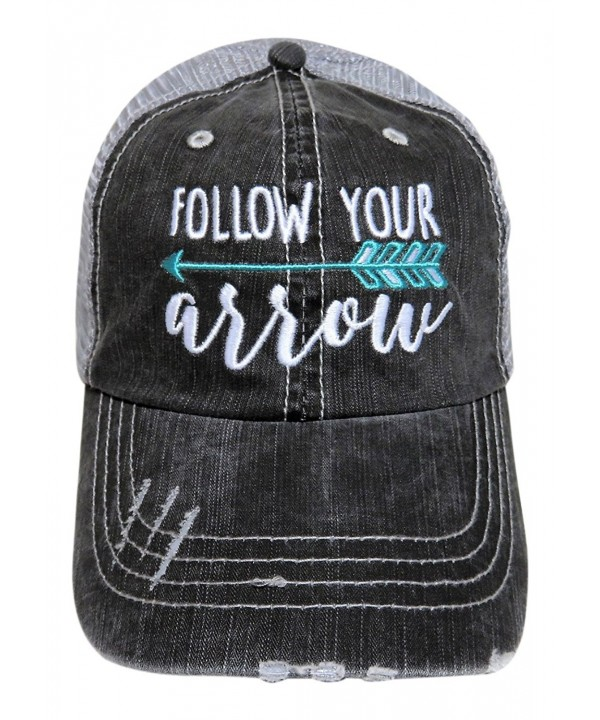 "Embroidered ""Follow Your Arrow"" Washed Out Grey Trucker Cap Hat - Mint Arrow - CF12NT7AFJQ"