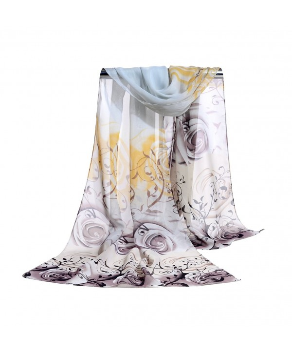 E-Clover Lightweight Chiffon Sheer Scarves: Women's Pretty Rose Print Scarf (Grey) - CS186LHY7GL