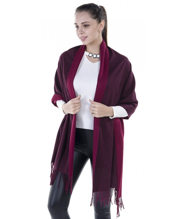 Niaiwei Long Pashmina Womens Wool Shawl- Bridal Extra Large shawl for Wedding Evening - Red + Red Wine - CZ186YSD74Y