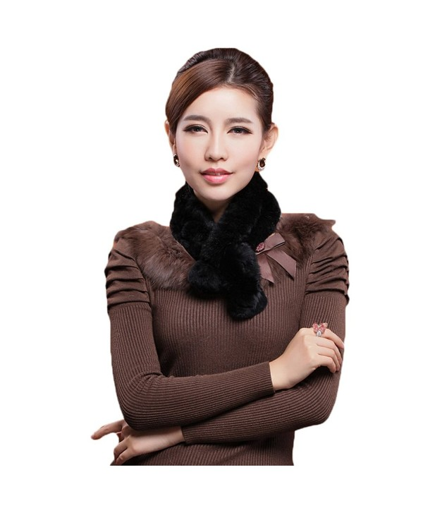 Mingxin real rabbit fur scarf concise slim style shawl warm collar shawl stole - Black - CI127LUCNKX