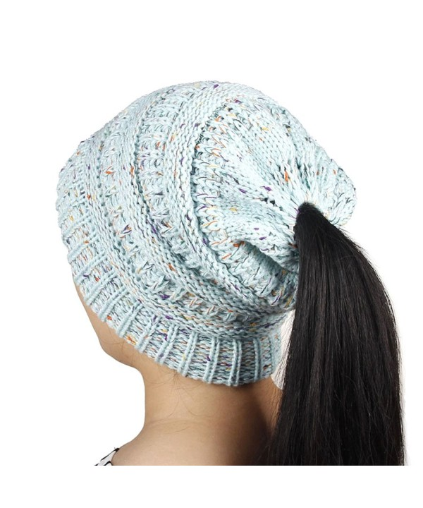 Yeahii Women Ponytail Cap Warm Beanie Knitted Hat Messy High Bun Ponytail Beanie Hat - Blue - CM188R0TL5L