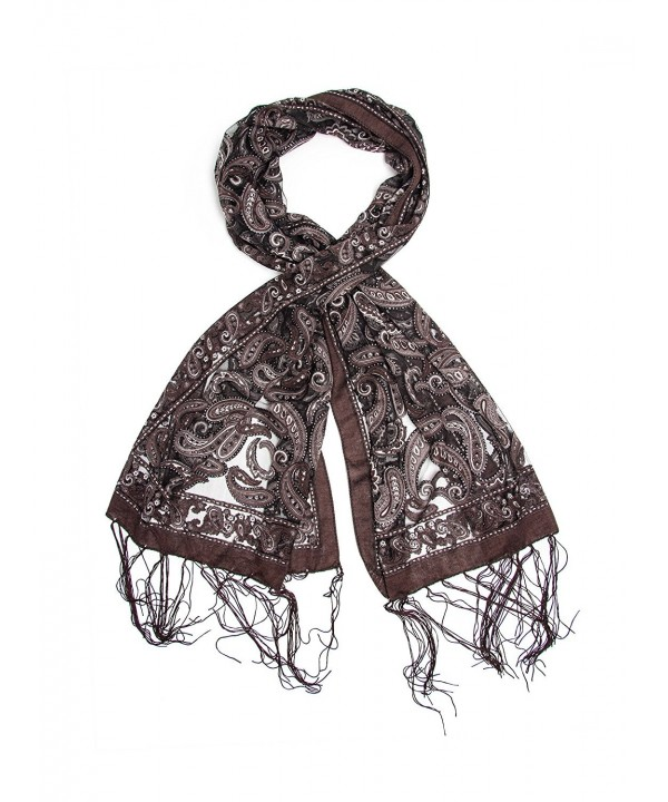 Bohomonde Louisa Scarf- Delicate Sheer Burnout Paisley Pattern Scarf Fringe - Gray/Black - CS11QHMBW6X